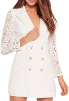Haoduoyi Womens Casual Lace Sleeve Double Breasted Slim Blazer(S,)