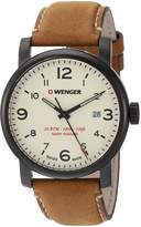 Wenger Men's 'Urban Metropolitan' Swiss Quartz Stainless Steel and Leather Casual Watch, Color:Brown (Model: 01.1041.134)