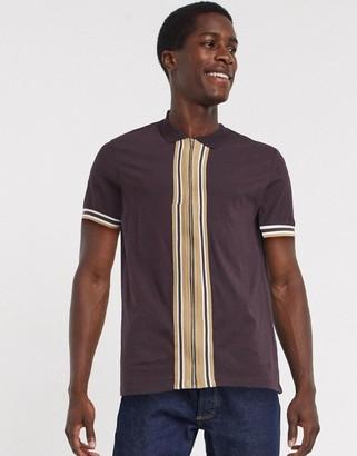 ASOS DESIGN jersey zip through shirt with retro tipping in burgundy