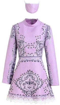 Comino Couture London Lilac Embellished Vintage Skater Dress
