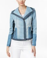 INC International Concepts Colorblocked Denim Moto Jacket, Created for Macy's