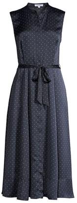 Equipment Clevete Sleeveless Polka Dot Tie Waist A-Line Shirtdress