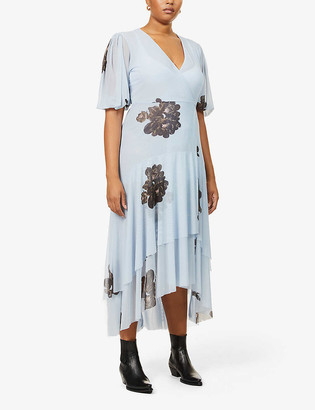 Ganni Floral-print stretch-mesh midi wrap dress