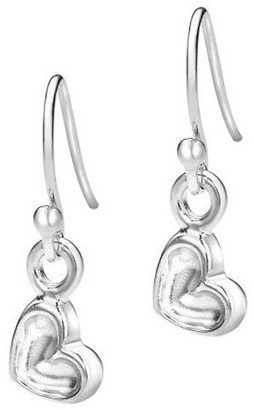 Dower & Hall Memento Sterling Silver Tiny 6mm Dimple Heart Drop Earrings