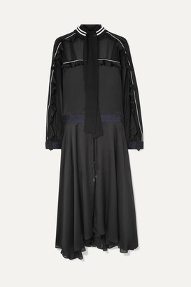 Sacai Ruffled Pleated Satin And Chiffon Maxi Dress - Black