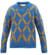 Marni - V Neck Diamond Intarsia Mohair Blend Sweater - Mens - Blue Multi