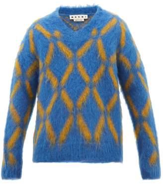 Marni V Neck Diamond Intarsia Mohair Blend Sweater - Mens - Blue Multi