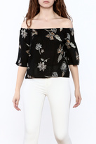 Honey Punch Black Off-Shoulder Top