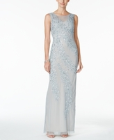 Adrianna Papell Illusion Embellished Column Gown