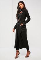 Missguided Black Satin Pocket Detail Duster Coat