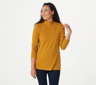 Susan Graver Rib Knit Long Sleeve Mock-Neck Tunic