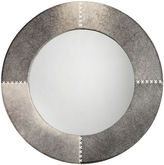 Jamie Young Cross-Stitch Rounl Mirror, Gray Hide