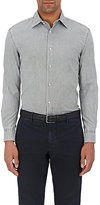 Piattelli MEN'S WASHED COTTON OXFORD CLOTH SHIRT-GREEN SIZE L