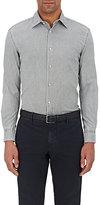 Piattelli MEN'S WASHED COTTON OXFORD CLOTH SHIRT-GREEN SIZE M