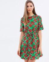 Warehouse Woodblock Daisy Flippy Dress