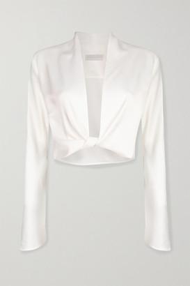Vanessa Cocchiaro Herta Cropped Satin Wrap Top - White
