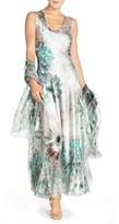 Komarov Women's Corset Back Charmeuse Gown With Shawl