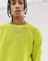 Asos Design ASOS DESIGN oversized textured knit jumper in lime green