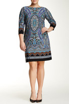 London Times 3/4 Length Sleeve Scroll Paisley Dress (Plus Size)