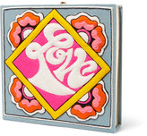 Olympia Le-Tan Olympia LeTan - Love Appliquéd Cotton-faille Clutch