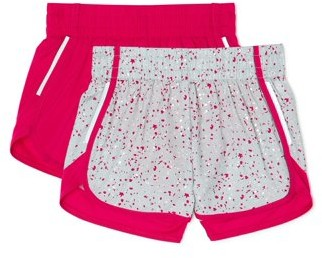 Athletic Works Girls 4-18 & Plus Solid and Printed Running Shorts, 2-Pack