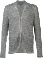John Varvatos surface printed cardigan - men - Cotton/Linen/Flax - L