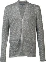 John Varvatos - surface printed cardigan - men - Cotton/Linen/Flax - M