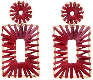 Amrita Singh Women's Earrings Ruby - Red Raffia & Goldtone Paulette Rectangular Drop Earrings