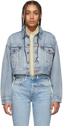 Levi's Levis Blue Denim Cropped Dad Trucker Jacket