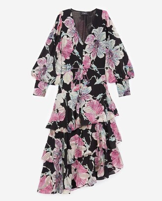 The Kooples Long dress with floral print and beads