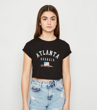 New Look Girls Flag Atlanta Slogan Crop Top
