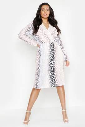 boohoo Plus Ombre Leopard Wrap Midi Dress