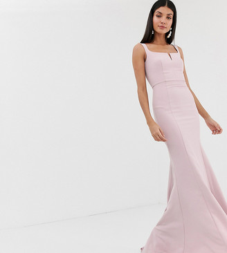 Jarlo Tall square neck maxi dress with built up shoulder in pink