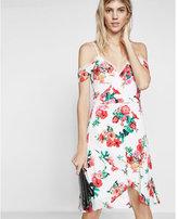 Express Floral Print Lace Trim Cold Shoulder Wrap Dress