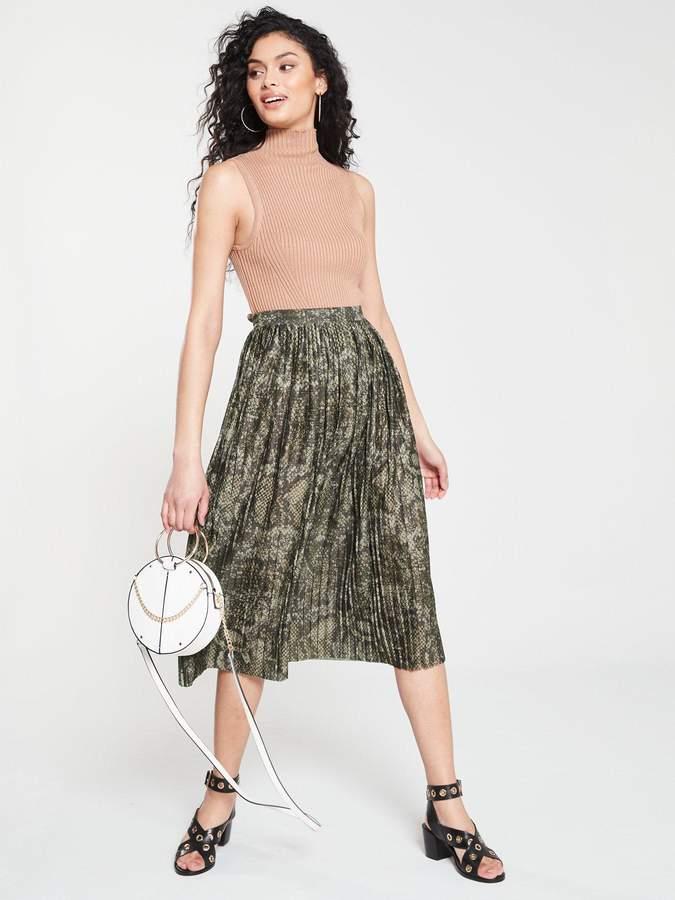 84a891ed1 Khaki Pleated Midi Skirt - ShopStyle UK