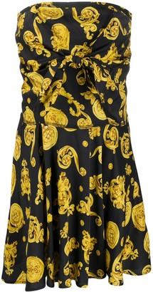 Versace Baroque-Print Strapless Dress