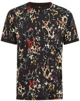 Topman Mens Black Floral Leopard Tipped T-Shirt