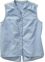 Old Navy Girls Sleeveless Chambray Shirts