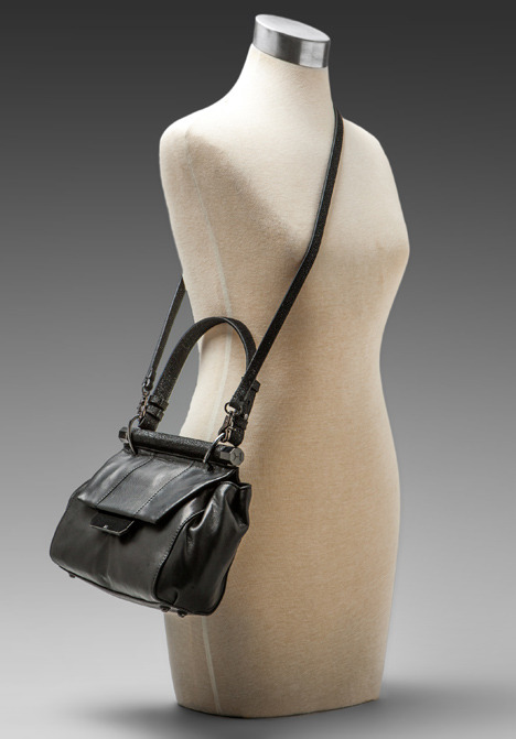 Halston Dowel Mixed Media Small Shoulder Bag