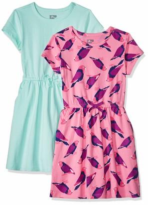 Spotted Zebra Toddler Girls' 2-Pack Knit Short-Sleeve Cinch Waist Dresses