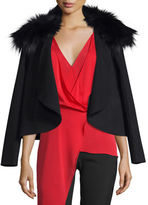 Halston Draped Open-Front Jacket w/ Removable Fox Fur Collar