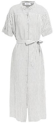 Frame Striped Linen And Cotton-blend Midi Dress