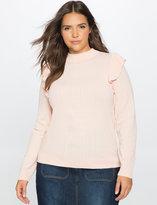 ELOQUII Plus Size Alex Ruffle Shoulder Sweater