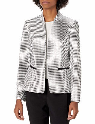 Nine West Women's Plus Size Stand Collar Knit Gingham Jacquard Kissing Jacket