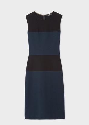 Paul Smith Women's Black And Navy Colour-Block Shift Dress