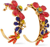 Thumbnail for your product : Elizabeth Cole 24-karat Gold-plated, Swarovski Crystal And Stone Hoop Earrings