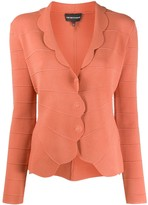 Emporio Armani Scalloped Hem Fitted Cardigan
