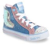 Skechers Toddler Girl's Twinkle Toes Shuffles Wonder Wings Light-Up High Top Sneaker