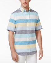 Club Room Men's Heathered Striped Linen Shirt, Created for Macy's
