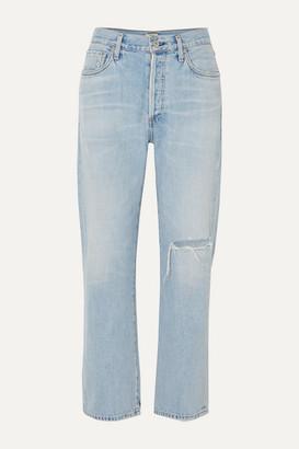 Citizens of Humanity Mckenzie Distressed Mid-rise Straight-leg Jeans - Light denim
